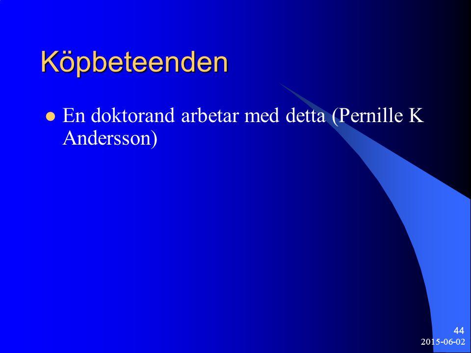 Köpbeteenden En doktorand arbetar med detta (Pernille K Andersson)