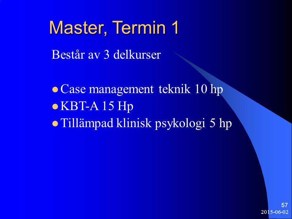 Master, Termin 1 Består av 3 delkurser Case management teknik 10 hp