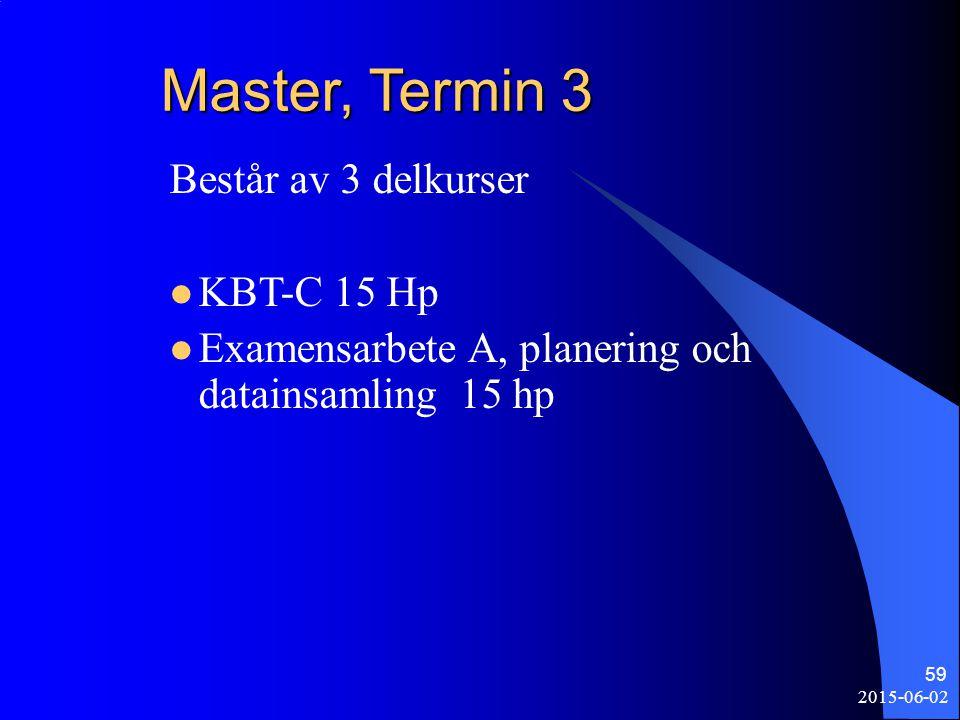 Master, Termin 3 Består av 3 delkurser KBT-C 15 Hp