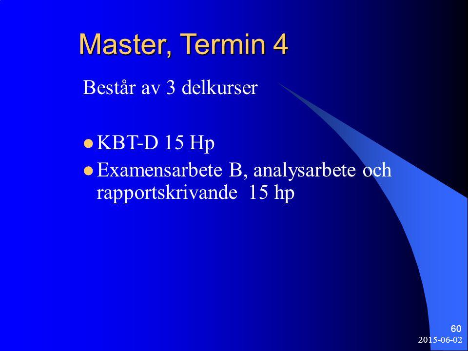 Master, Termin 4 Består av 3 delkurser KBT-D 15 Hp