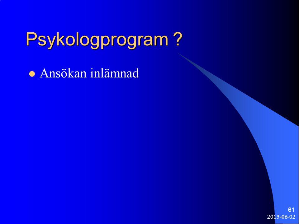 Psykologprogram Ansökan inlämnad 2017-04-16
