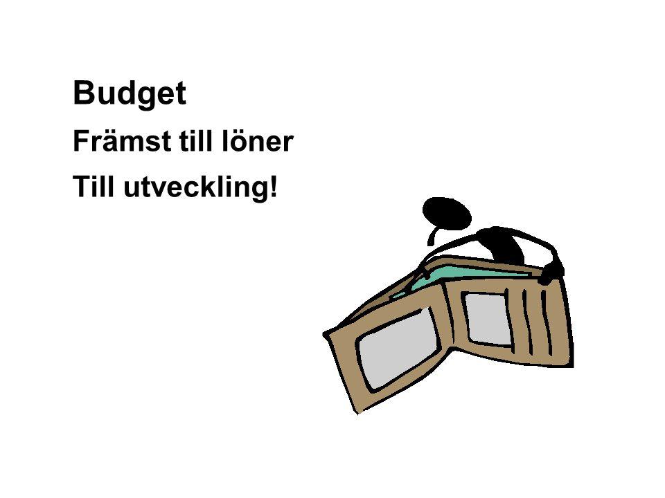 Budget Främst till löner Till utveckling! Graham Gibbs