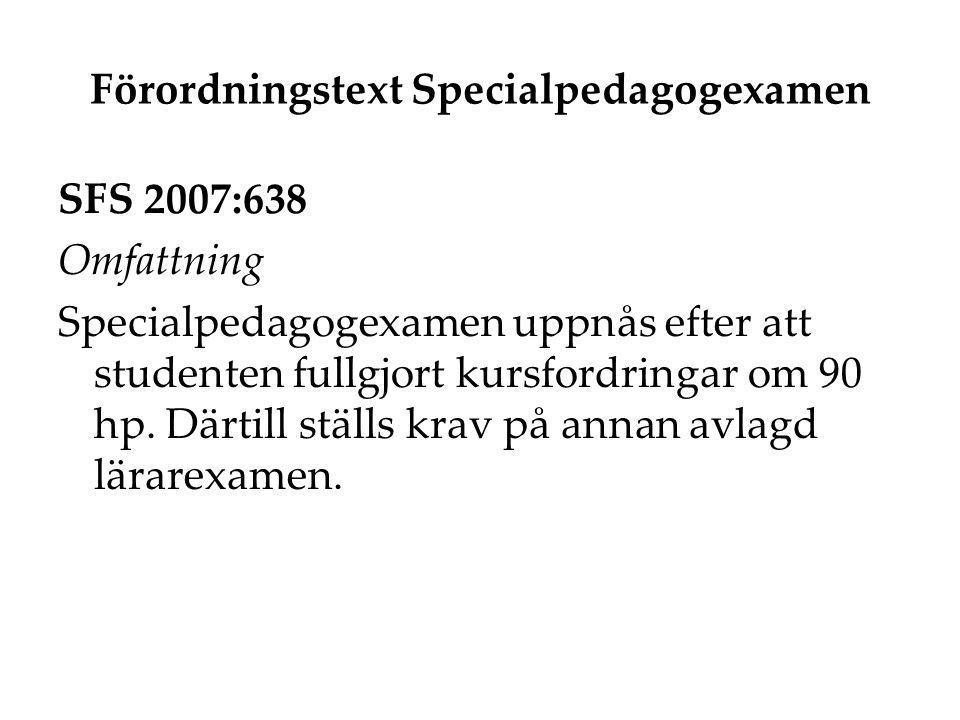Förordningstext Specialpedagogexamen