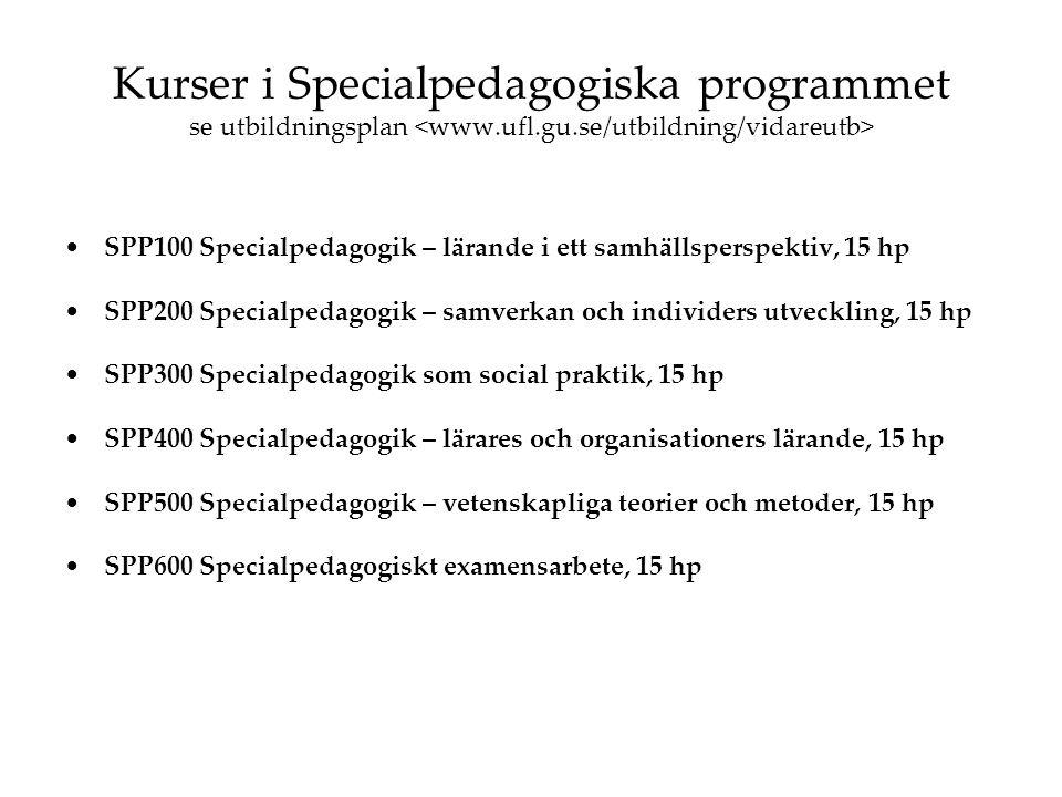 Kurser i Specialpedagogiska programmet se utbildningsplan <www. ufl