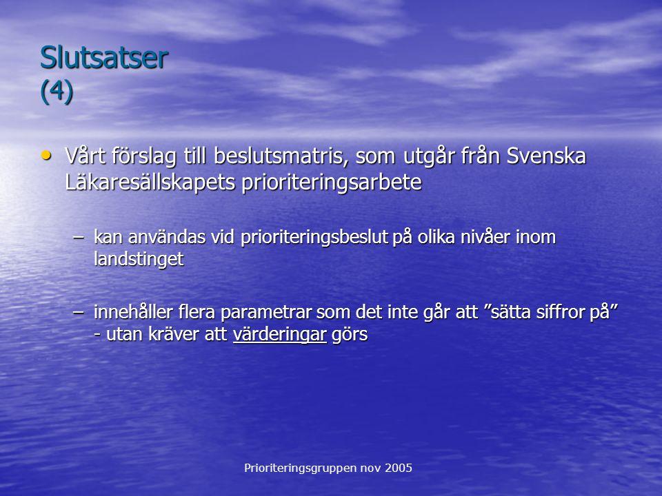 Slutsatser (4) Vårt förslag till beslutsmatris, som utgår från Svenska Läkaresällskapets prioriteringsarbete.