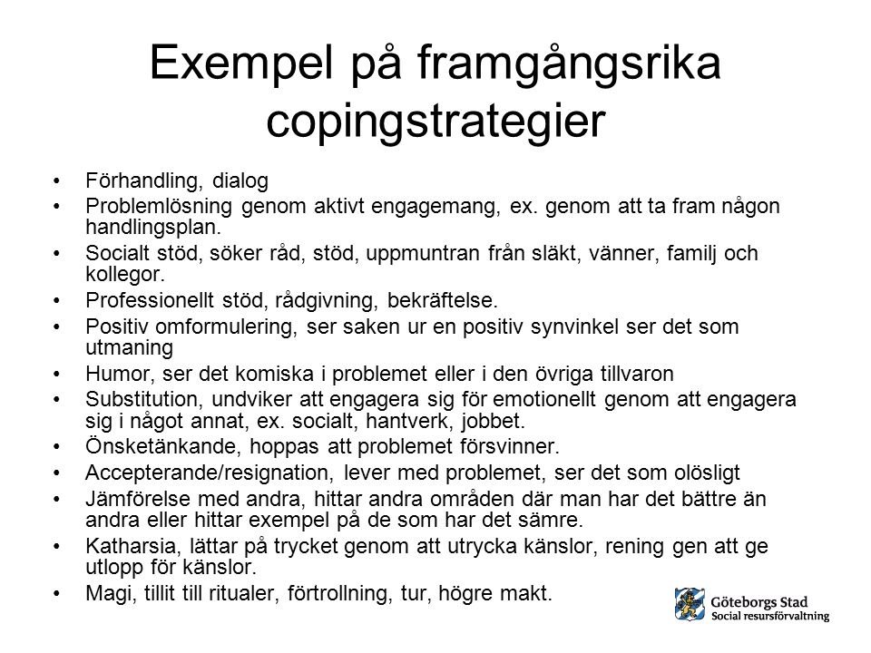 Exempel på framgångsrika copingstrategier