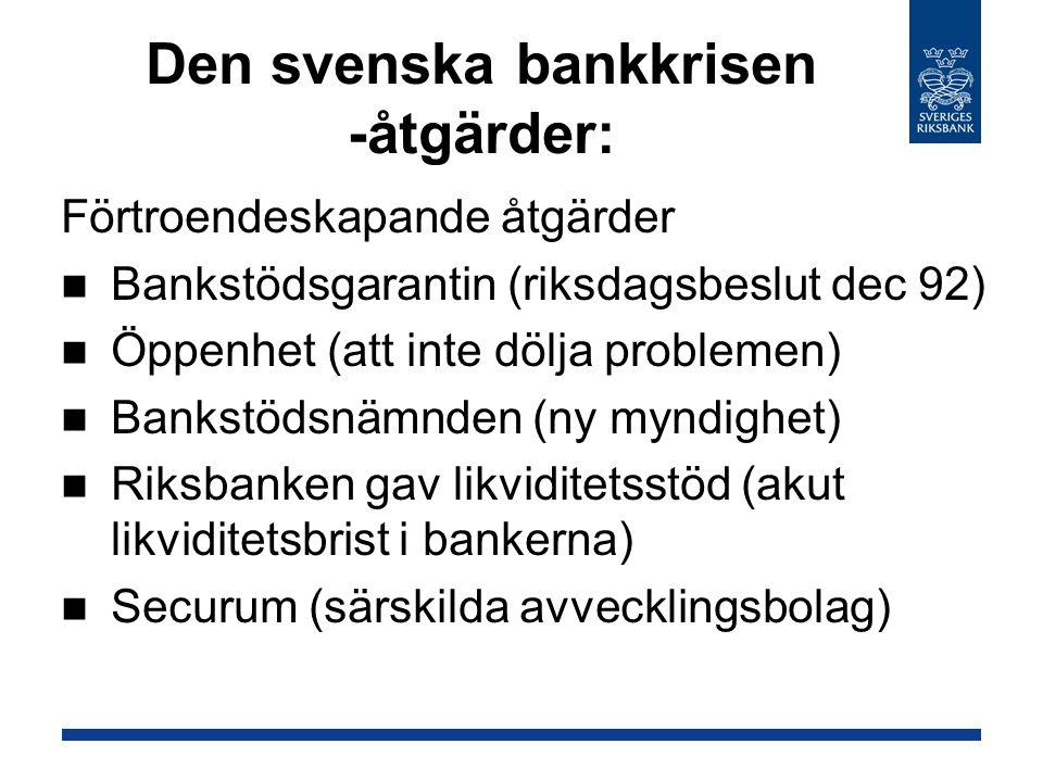 Den svenska bankkrisen -åtgärder: