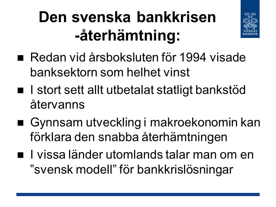Den svenska bankkrisen -återhämtning:
