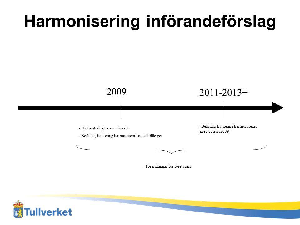 Harmonisering införandeförslag
