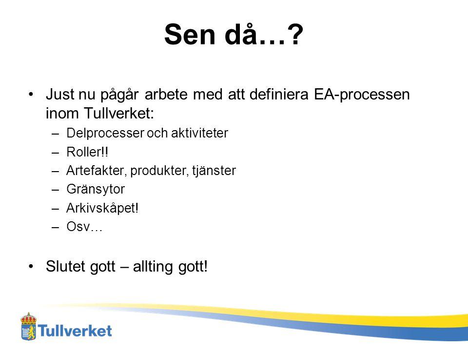 Sen då… Just nu pågår arbete med att definiera EA-processen inom Tullverket: Delprocesser och aktiviteter.
