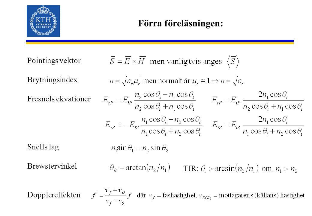 Förra föreläsningen: Pointings vektor Brytningsindex