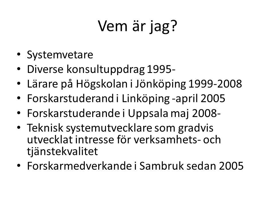 Vem är jag Systemvetare Diverse konsultuppdrag 1995-