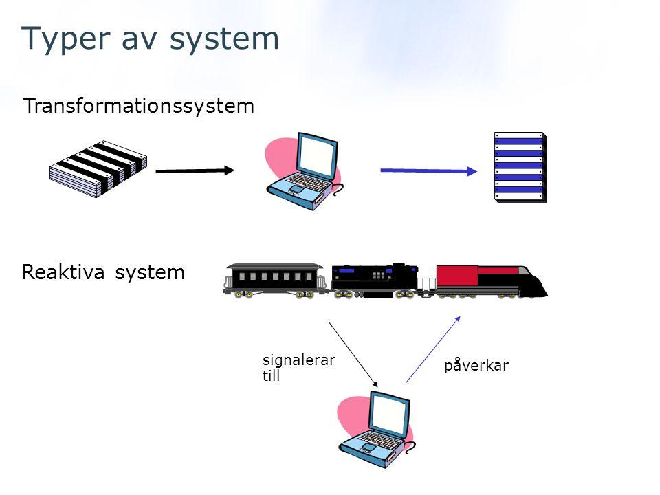 Typer av system Transformationssystem Reaktiva system signalerar