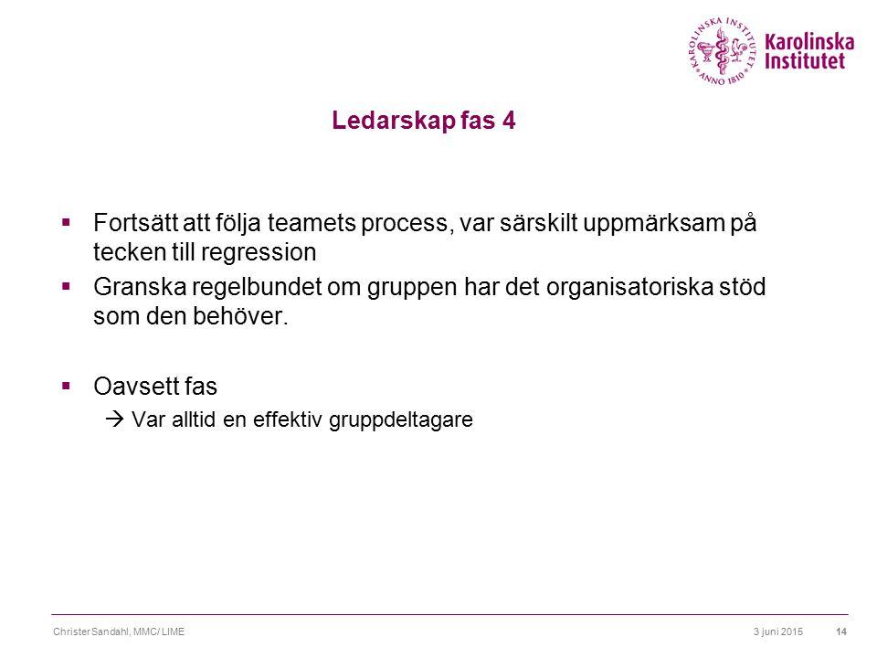 Ledarskap fas 4 Fortsätt att följa teamets process, var särskilt uppmärksam på tecken till regression.