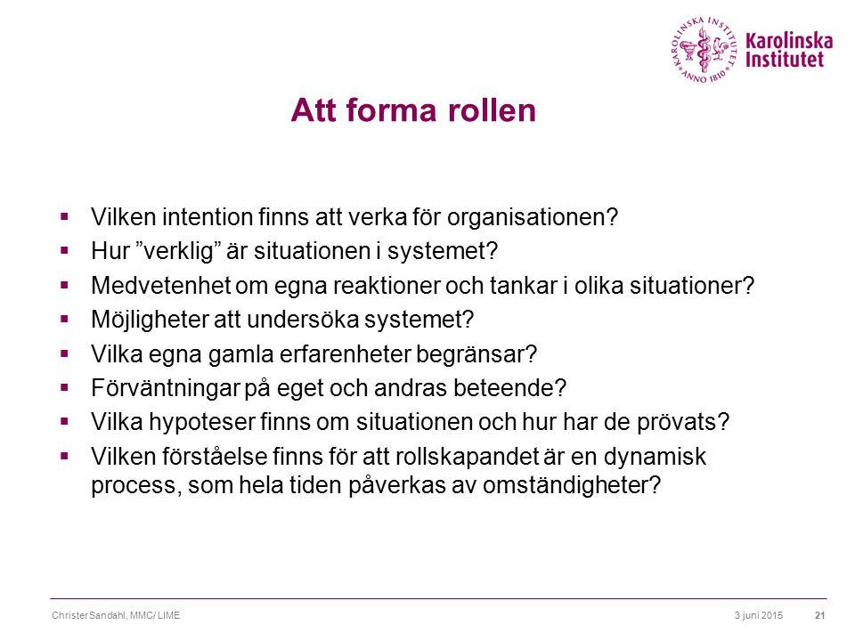 Att forma rollen Vilken intention finns att verka för organisationen
