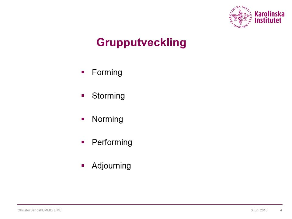 Grupputveckling Forming Storming Norming Performing Adjourning
