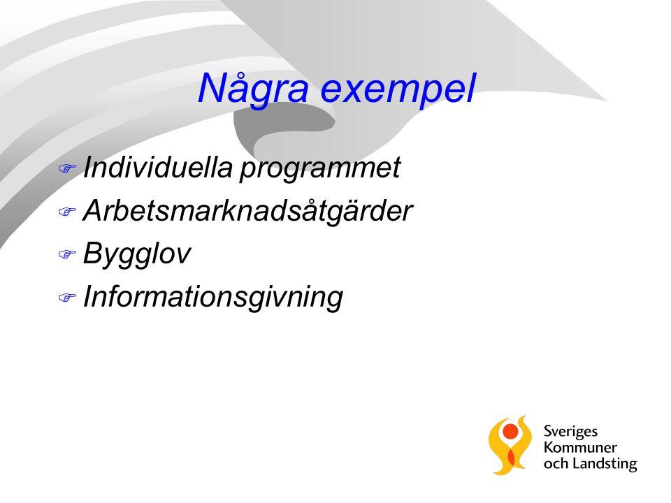 Några exempel Individuella programmet Arbetsmarknadsåtgärder Bygglov