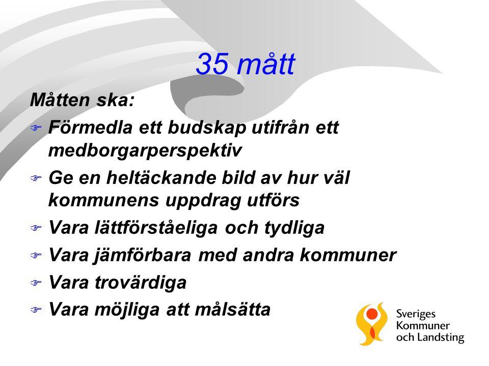 35 mått Måtten ska: Förmedla ett budskap utifrån ett medborgarperspektiv. Ge en heltäckande bild av hur väl kommunens uppdrag utförs.
