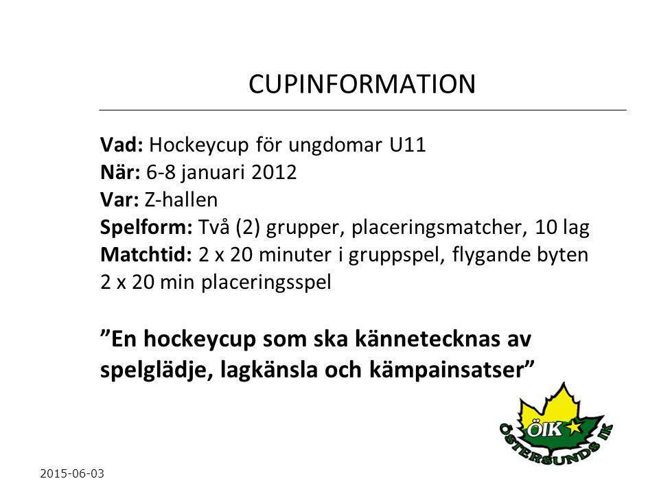 CUPINFORMATION En hockeycup som ska kännetecknas av