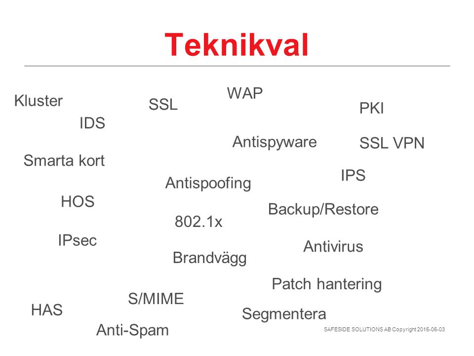 Teknikval WAP Kluster SSL PKI IDS Antispyware SSL VPN Smarta kort IPS