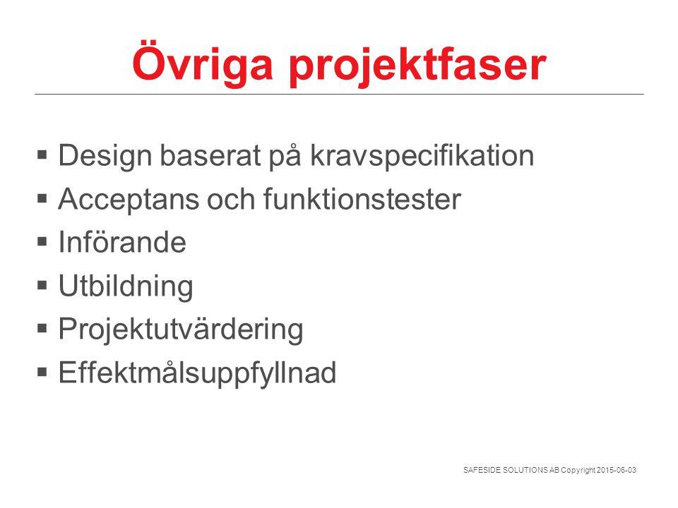 Övriga projektfaser Design baserat på kravspecifikation