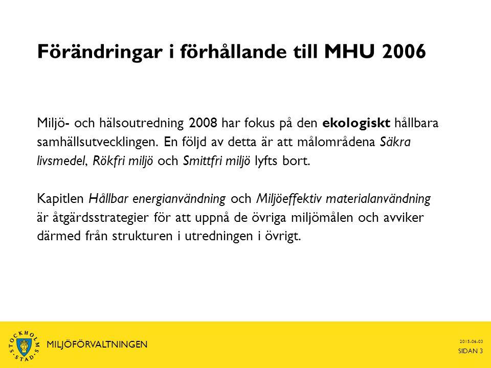 Förändringar i förhållande till MHU 2006