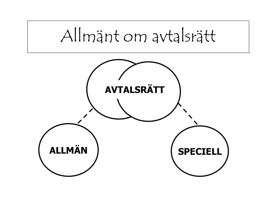 Allmänt om avtalsrätt AVTALSRÄTT ALLMÄN SPECIELL