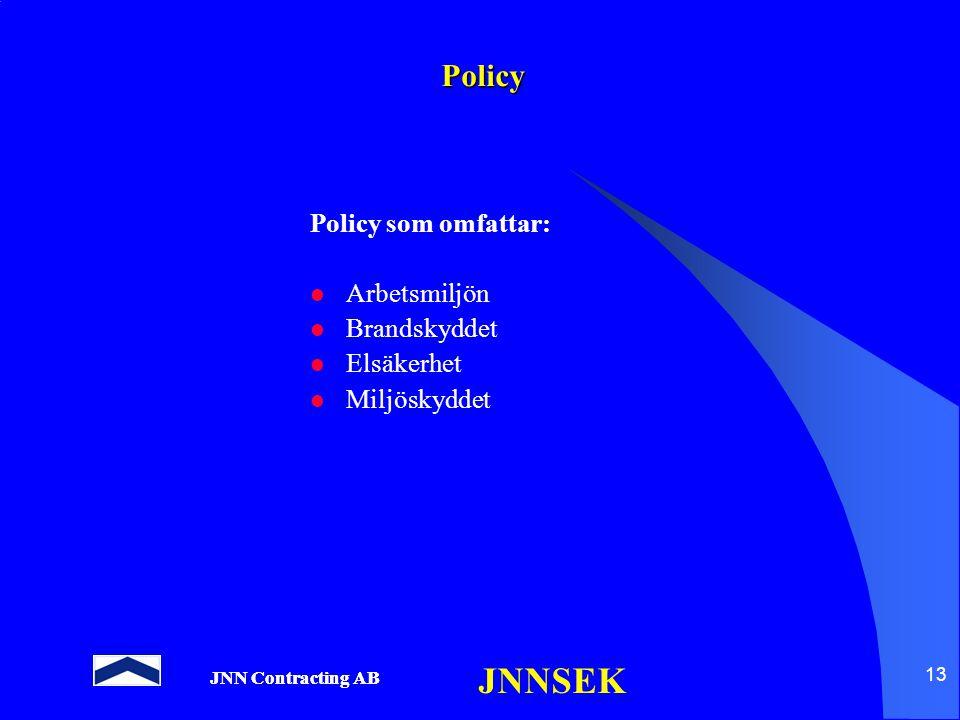Policy Policy som omfattar: Arbetsmiljön Brandskyddet Elsäkerhet