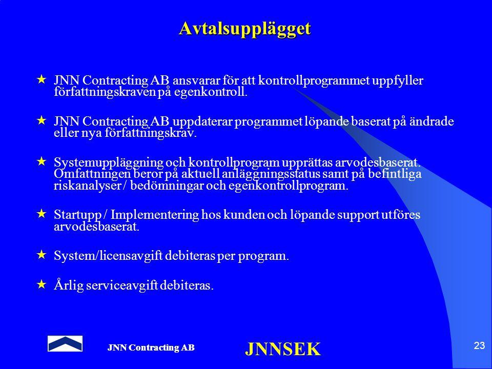 Avtalsupplägget JNN Contracting AB ansvarar för att kontrollprogrammet uppfyller författningskraven på egenkontroll.