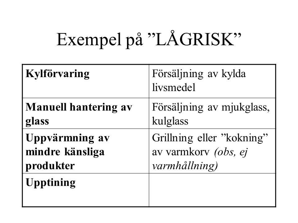 Exempel på LÅGRISK Kylförvaring Försäljning av kylda livsmedel