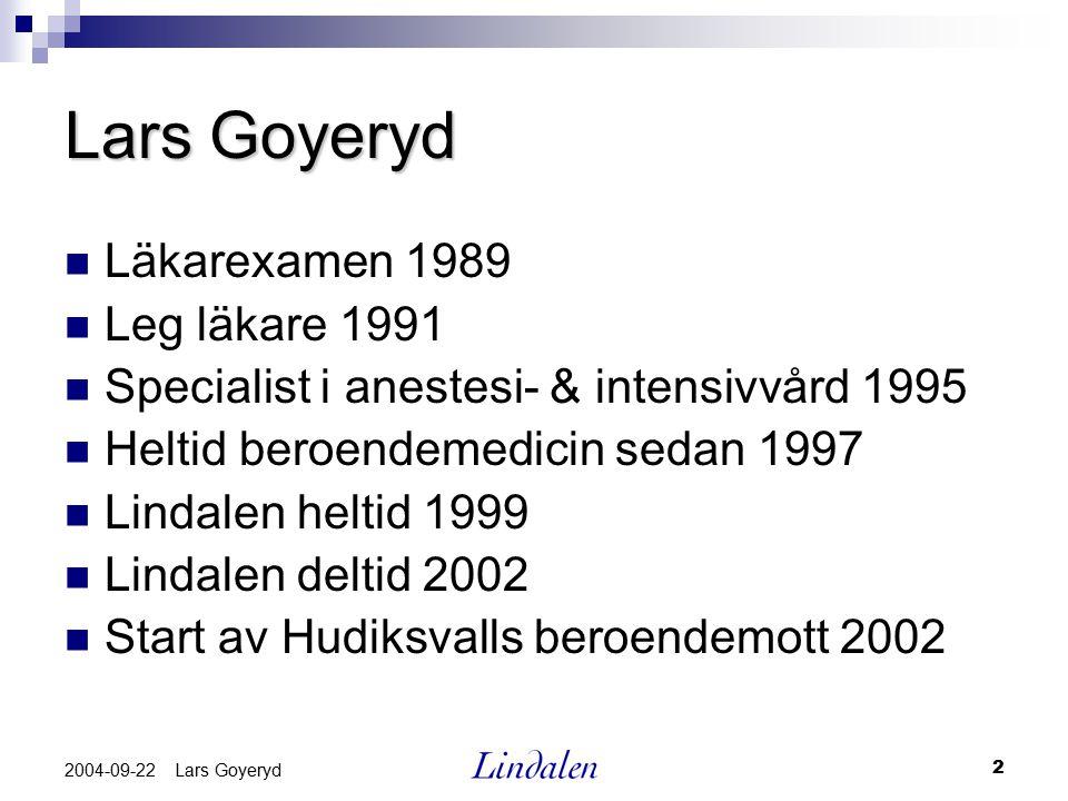 Lars Goyeryd Läkarexamen 1989 Leg läkare 1991