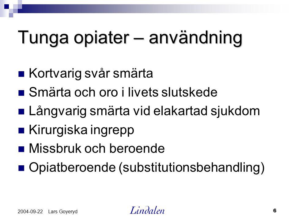 Tunga opiater – användning