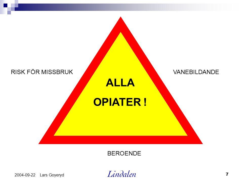 ALLA OPIATER ! RISK FÖR MISSBRUK VANEBILDANDE BEROENDE 2004-09-22