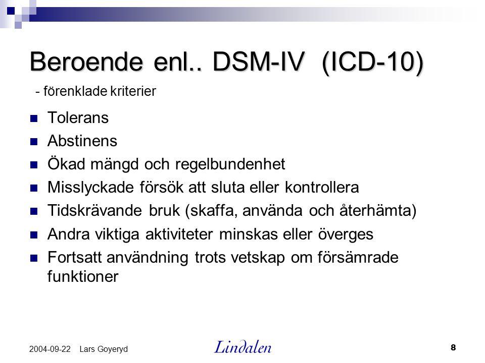 Beroende enl.. DSM-IV (ICD-10)