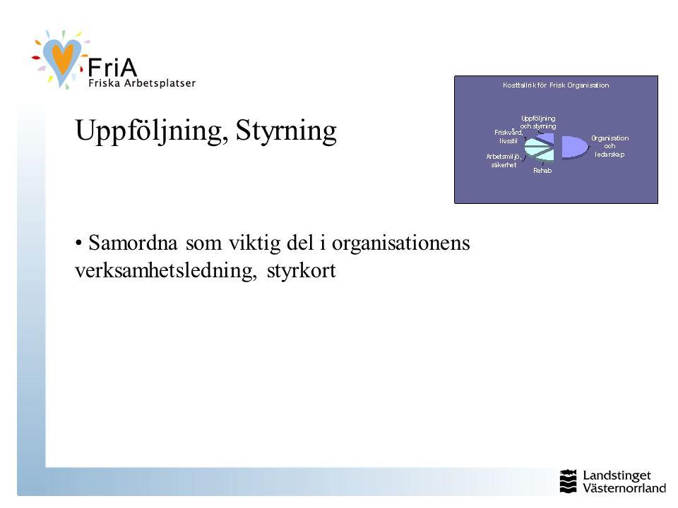 Uppföljning, Styrning Samordna som viktig del i organisationens verksamhetsledning, styrkort