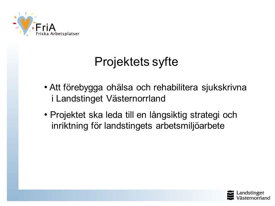 Projektets syfte Att förebygga ohälsa och rehabilitera sjukskrivna i Landstinget Västernorrland.