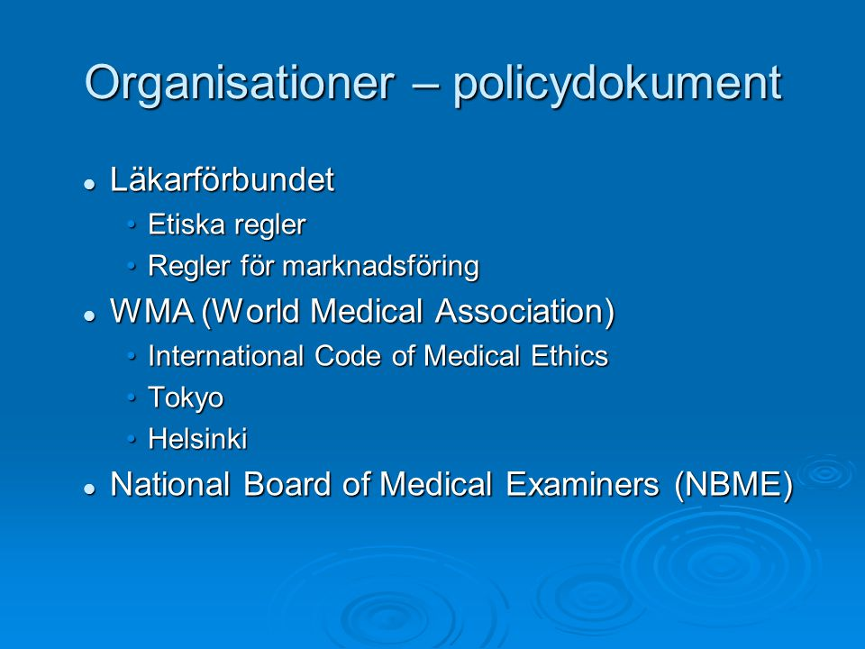 Organisationer – policydokument