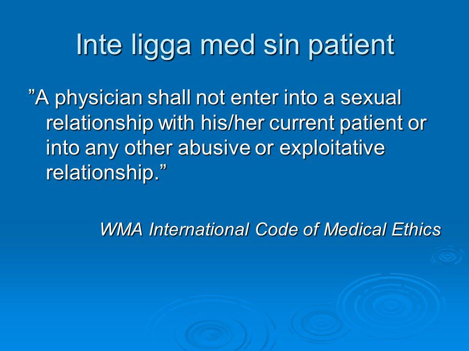 Inte ligga med sin patient
