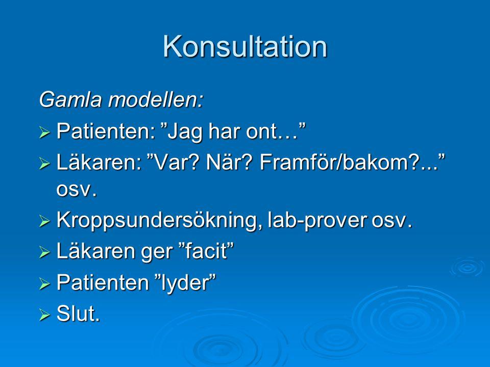 Konsultation Gamla modellen: Patienten: Jag har ont…