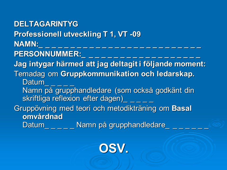 OSV. DELTAGARINTYG Professionell utveckling T 1, VT -09