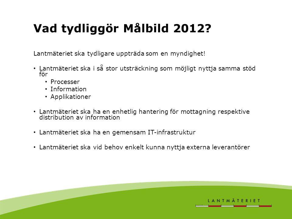 Vad tydliggör Målbild 2012 Lantmäteriet ska tydligare uppträda som en myndighet!