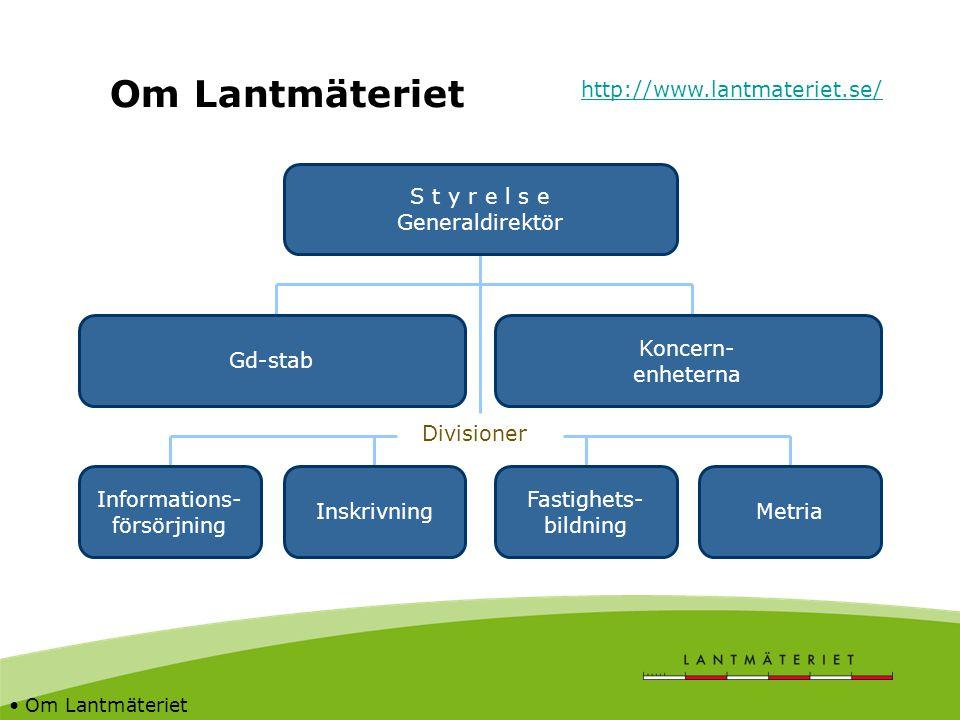 Om Lantmäteriet http://www.lantmateriet.se/ S t y r e l s e