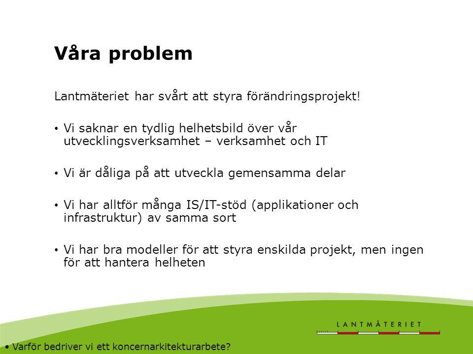 Våra problem Lantmäteriet har svårt att styra förändringsprojekt!