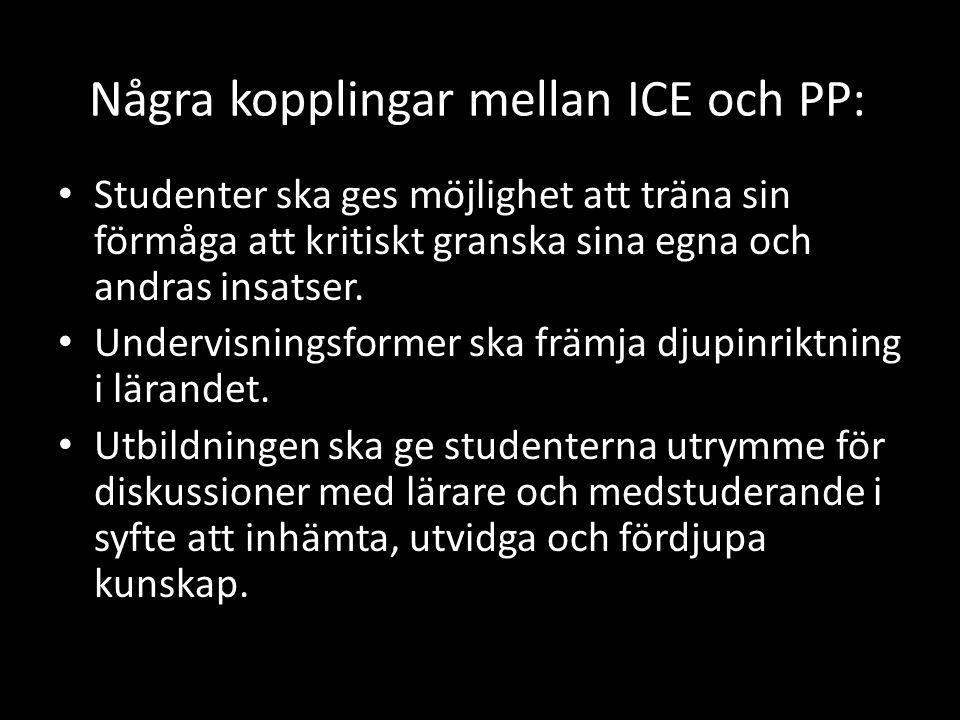 Några kopplingar mellan ICE och PP: