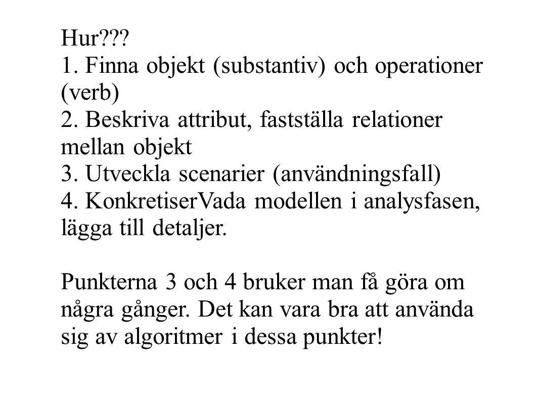 Hur 1. Finna objekt (substantiv) och operationer (verb) 2. Beskriva attribut, fastställa relationer mellan objekt.