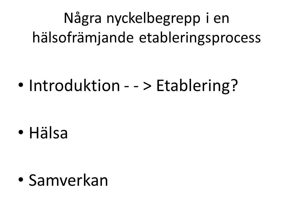Några nyckelbegrepp i en hälsofrämjande etableringsprocess