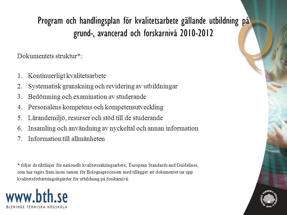 Program och handlingsplan för kvalitetsarbete gällande utbildning på grund-, avancerad och forskarnivå 2010-2012
