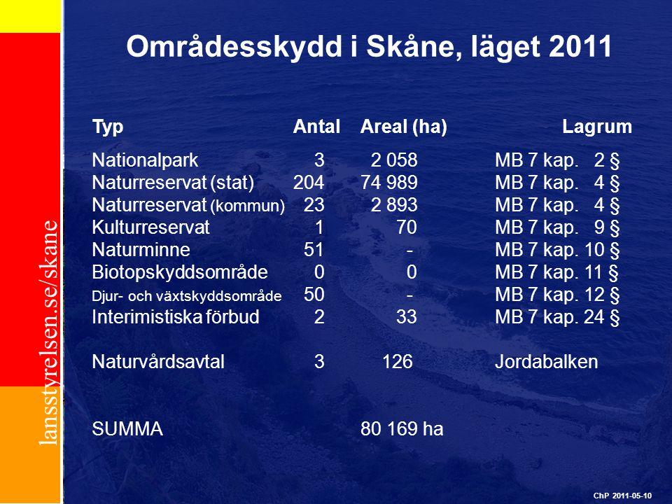 Områdesskydd i Skåne, läget 2011