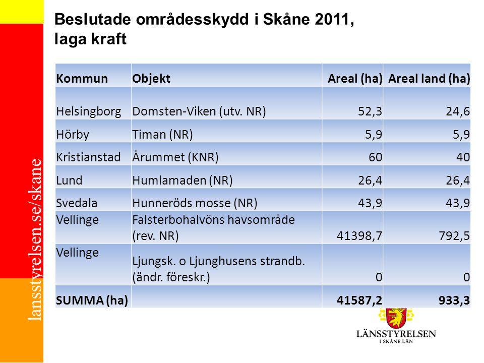 Beslutade områdesskydd i Skåne 2011, laga kraft