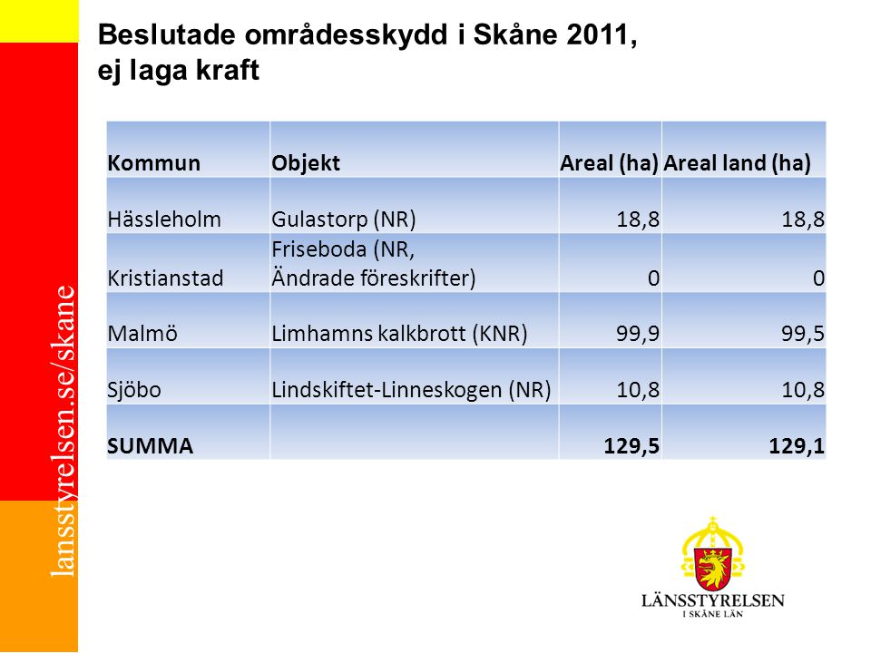 Beslutade områdesskydd i Skåne 2011, ej laga kraft
